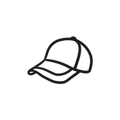 Baseball hat sketch icon.