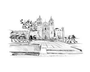 Mexico. Templo de Santo Domingo de Guzman. Hand drawn vector illustration.