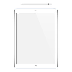 tablet and pencil or stylus isolated on white background. stock vector illustration eps10