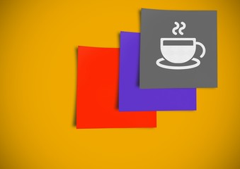 Post It Notes with Coffee break Icon against a yellow background