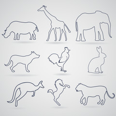 A set of contours, silhouettes of animals rhinoceros, giraffe, elephant, dog, rooster or chicken, a hare or a rabbit, kangaroo, horse, tiger or a panther or a lion