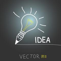 lamp. An Idea creative illustration