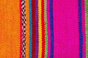Colorful indian textile in colorful stripes