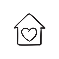 House with heart symbol sketch icon.