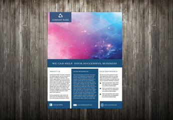 Single Page Business Flyer Layout with Blue Borders 3