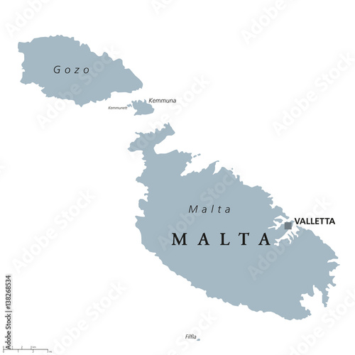 Malta political map with capital Valletta Republic and Southern