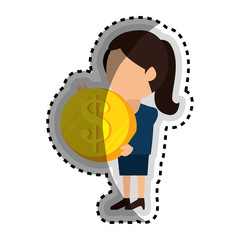 businesswoman with coin money isolated icon vector illustration design