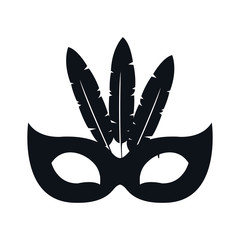 black silhouette festive carnival mask icon design vector illustration