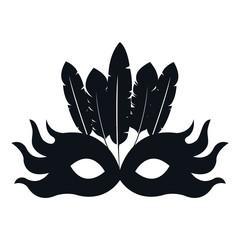 black silhouette mask feather carnival festival circus fair celebration vector illustration