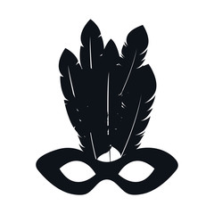 black silhouette mardi gras mask with feathers vector illustration