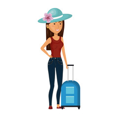 cartoon brunette woman with travel briefcases and hat lace vector illustration