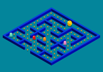 Isomeric Game concept with ghosts. Modern arcade video game interface design elements. Game world. Computer or mobile game screen.
