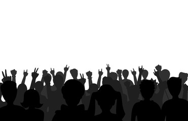 Group of people black business male female concept and fun standing crowd of position team silhouettes friends fans pose vector illustration.