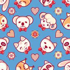 Cute pets. Seamless pattern. Colorful background with characters