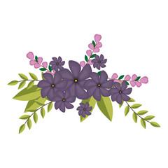 violets flowers crown floral design with leaves vector illustration