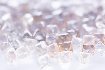 natural transparent diamonds in macro on white