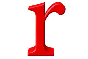 Lowercase letter R, isolated on white, with clipping path, 3D illustration