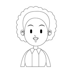 happy woman with curly hair icon image vector illustration design