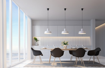 Modern white dining room with sea view 3d rendering image,Decorate wall with hidden warm light,black furniture,There are large windows Looking to beautiful sea view