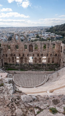 Amazing view of Odeon of Herodes Atticus in the Acropolis of Athens, Attica, Greece