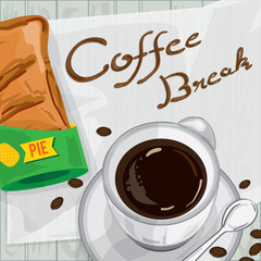 foods objects pineapple pie coffee break drawing graphic design template