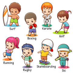 Vector illustration of Cartoon Vocabulary Sport character