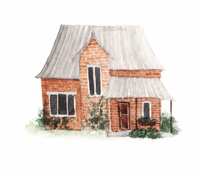 Old family summer house, cottage. Hand-drawn watercolor illustration.