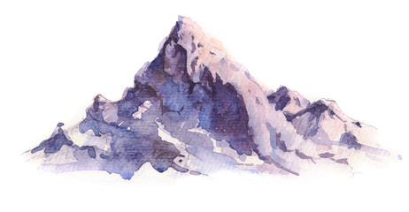Winter mountains landscape, isolated on white background. Hand drawn, watercolor illustration.