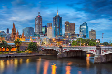 City of Melbourne. Cityscape image of Melbourne, Australia during twilight blue hour.