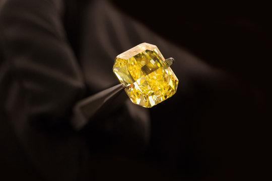 Beautiful shining Yellow canary diamond in tweezers  isolated on black background