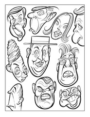 wacky humor vector faces black and white line art