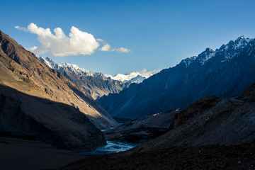 View of stunning mountains along the Karakoram Highway in western China and northern Pakistan