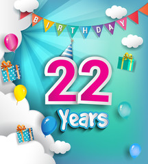 22 years Birthday Celebration Design, with clouds and balloons. using Paper Art Design Style.