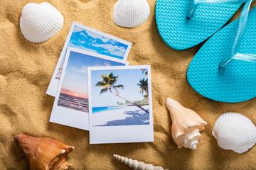 Summer Vacation Accessories On Sandy Beach