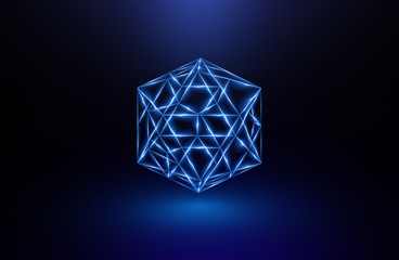 Beautiful crystal. Magic shapes. Object isolated. Techno edge. Modern cube. Color shine graphic. .Clean triangle cover. Tech laser cool mesh. Gem energy icon. High virtual detail vision. 3d pattern