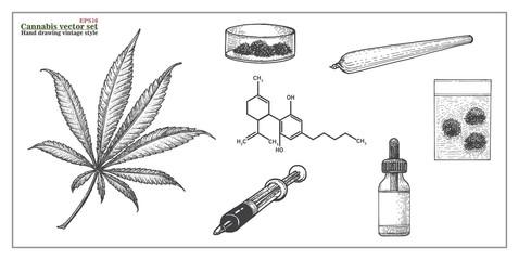 Cannabis Vector Set hand drawing