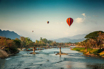Beautiful views of the mountains and the balloon tour, landmarks travels Vang Vieng, Laos.