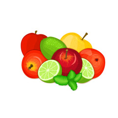 Vector composition of a few apples citrus lime and mint leaves Yellow, red and green apple fruits whole and slice tropical lemon fruit with pepper mint leaf for design of juice breakfast.,vegan food.