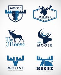 Blue Moose logo vector set art design