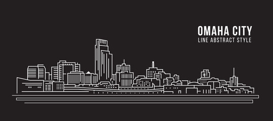 Cityscape Building Line art Vector Illustration design -  Omaha city
