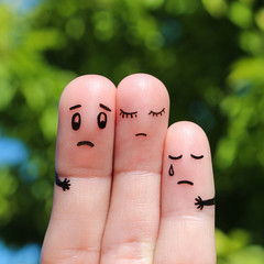 Finger art of displeased family. Concept of solution to the problems of family, support in difficult situations.