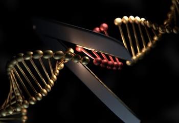 DNA cut the defective gene by a scissor 3d illustration