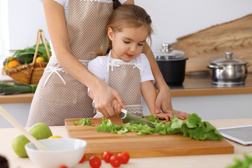Happy family in the kitchen. Mother and child daughter  cooking tasty breakfast of fresh salad