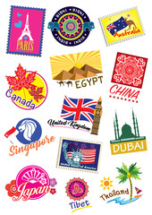 World country travel landmark label set