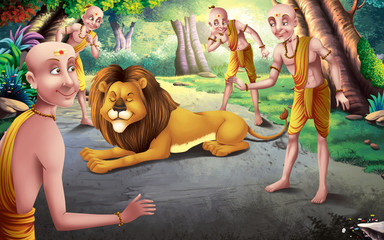 Four Scholars and lion story