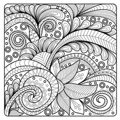 Hand-drawn floral pattern in doodle art style. Template for coloring book pages for adults. Vector illustration.