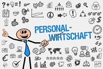 Personalwirtschaft / Mann mit Symbole