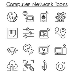Computer Network Icons set in thin line style