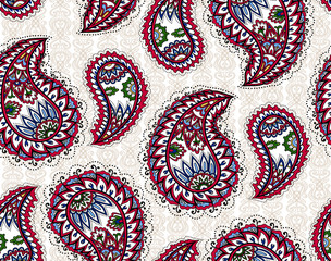 Vintage paisley seamless pattern. Ethnic ornament. Stylized decorative tribal painting. Traditional handcraft. Seamless texture in bright colors. Vector illustration.