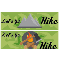 ravel And Hike Flat Banner With Axe And Mountain